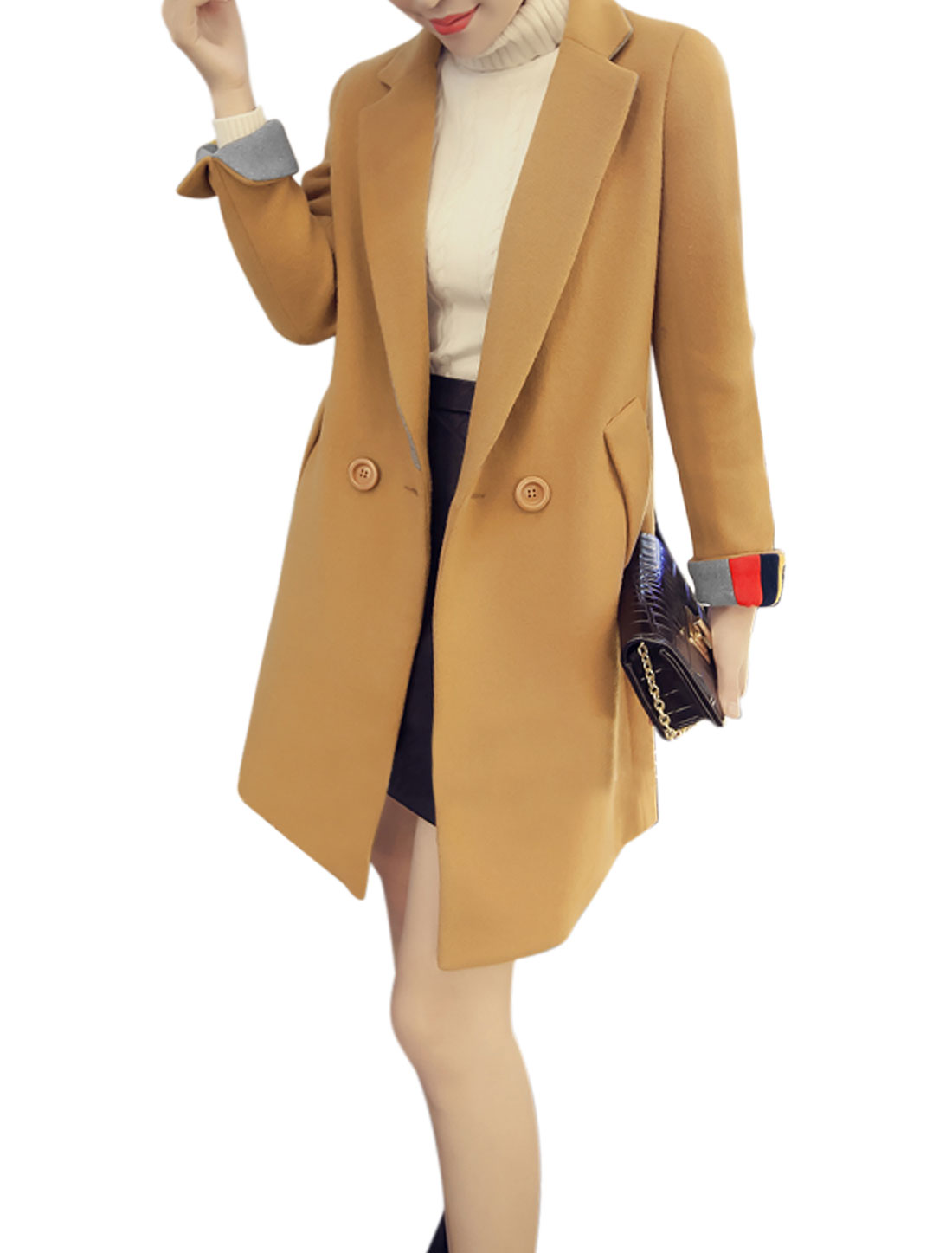 Women Button Closed Front Casual Worsted Basic Coat Brown XS