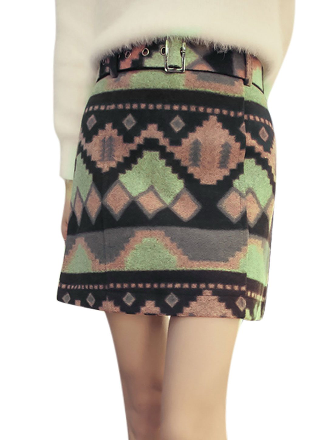 Women Geometric Print Zip Closed Casual A Line Skirt w Belt Black XS
