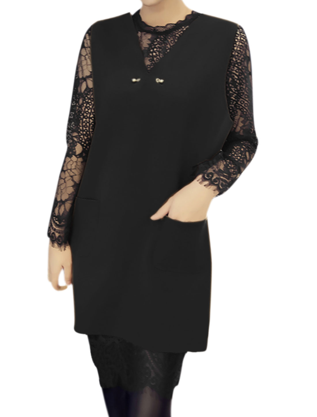 Lady V Neck Worsted Tunic Top w Long Sleeves Lace Dress Sets Black XS
