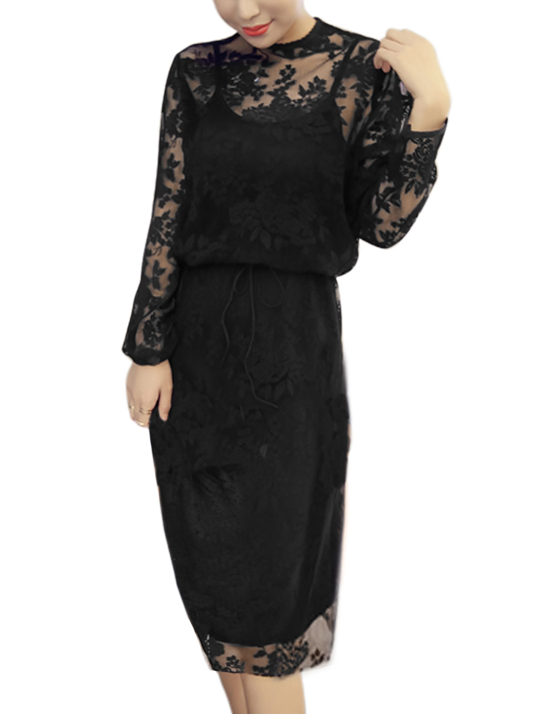 Women Elastic Waist Floral Design Mesh Midi Dress w Cami Dress Sets Black XS