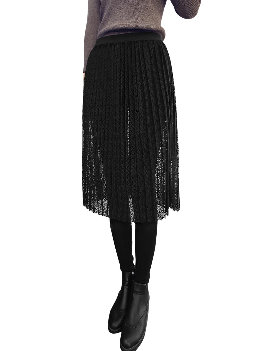 Lady Elastic Waist Lace Panel Pleated Design Skirt Leggings Black XS