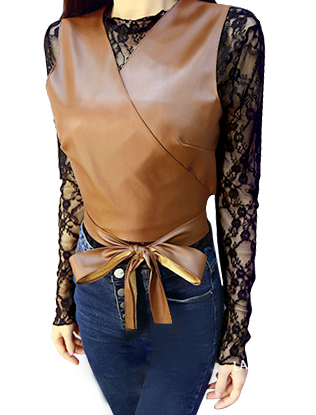 Lady Long Sleeves Lace Top w Crossover V Neck PU Vest Sets Brown XS