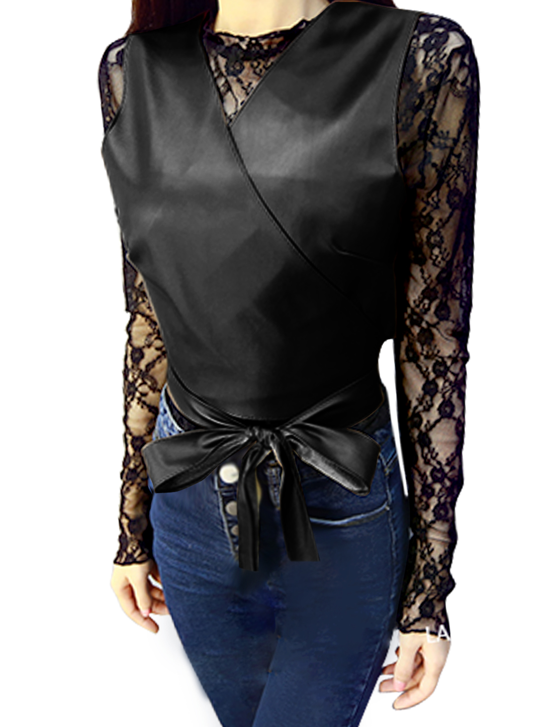 Women Crew Neck Lace Top w Pullover Belted Crop PU Vest Sets Black XS