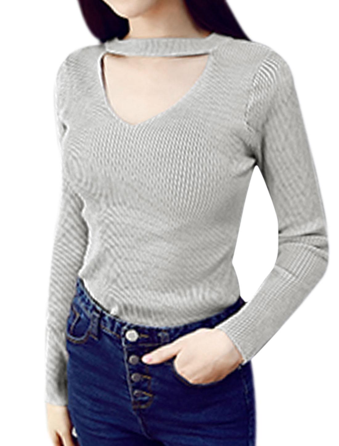 Women Crew Neck Long Sleeves Cut Out Ribbed Slim Fit Pullover Top Gray XS