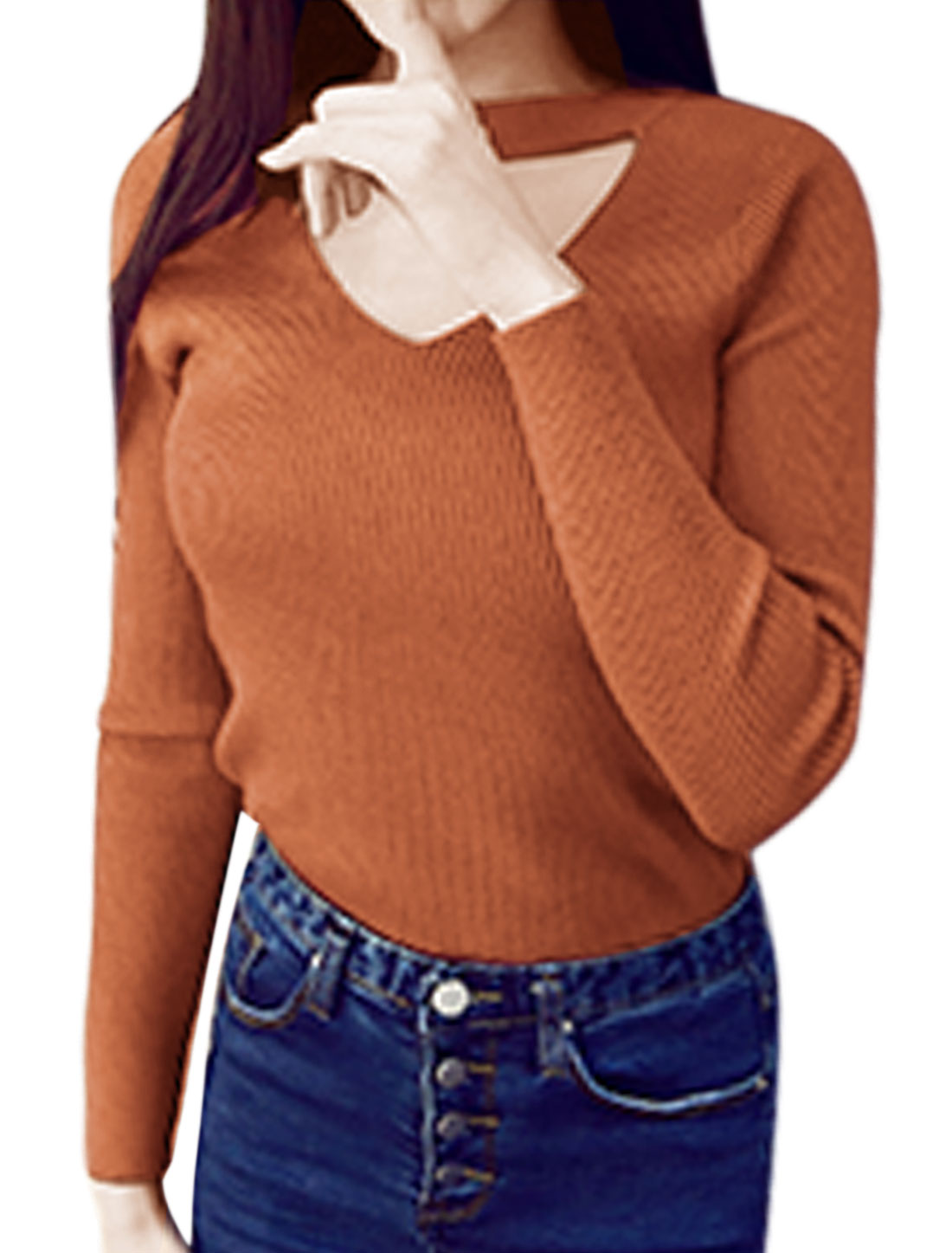 Ladies Crew Neck Long-sleeved Cut Out Ribbed Top Brown XS