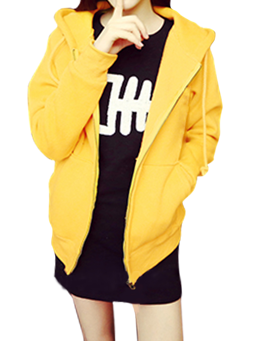 Women Zip Up Kangaroo Pockets Soft Lining Leisure Hoodie Yellow XS