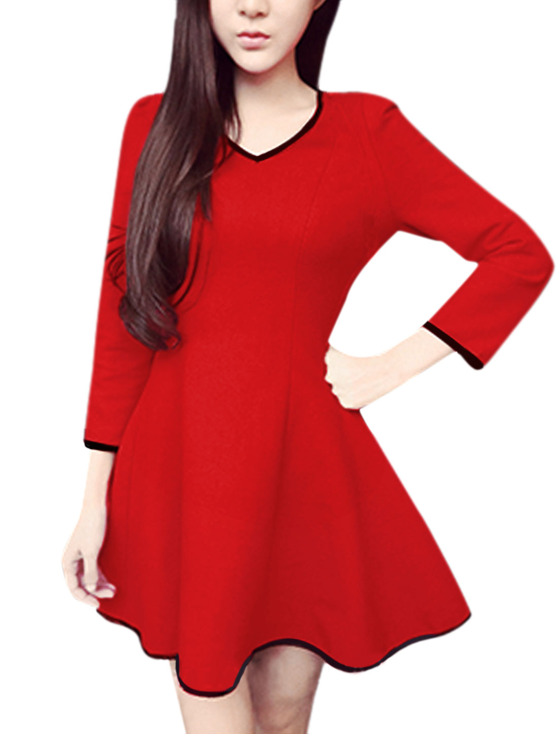 Ladies V Neck Bracelet Sleeves PU Panel Trim Worsted Short Dress Red S