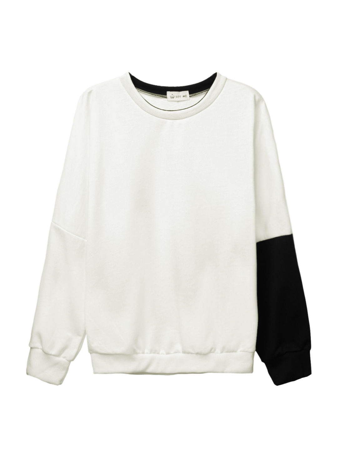 Women Crew Neck Dolman Sleeves Color Block Casual Sweatshirt White XS