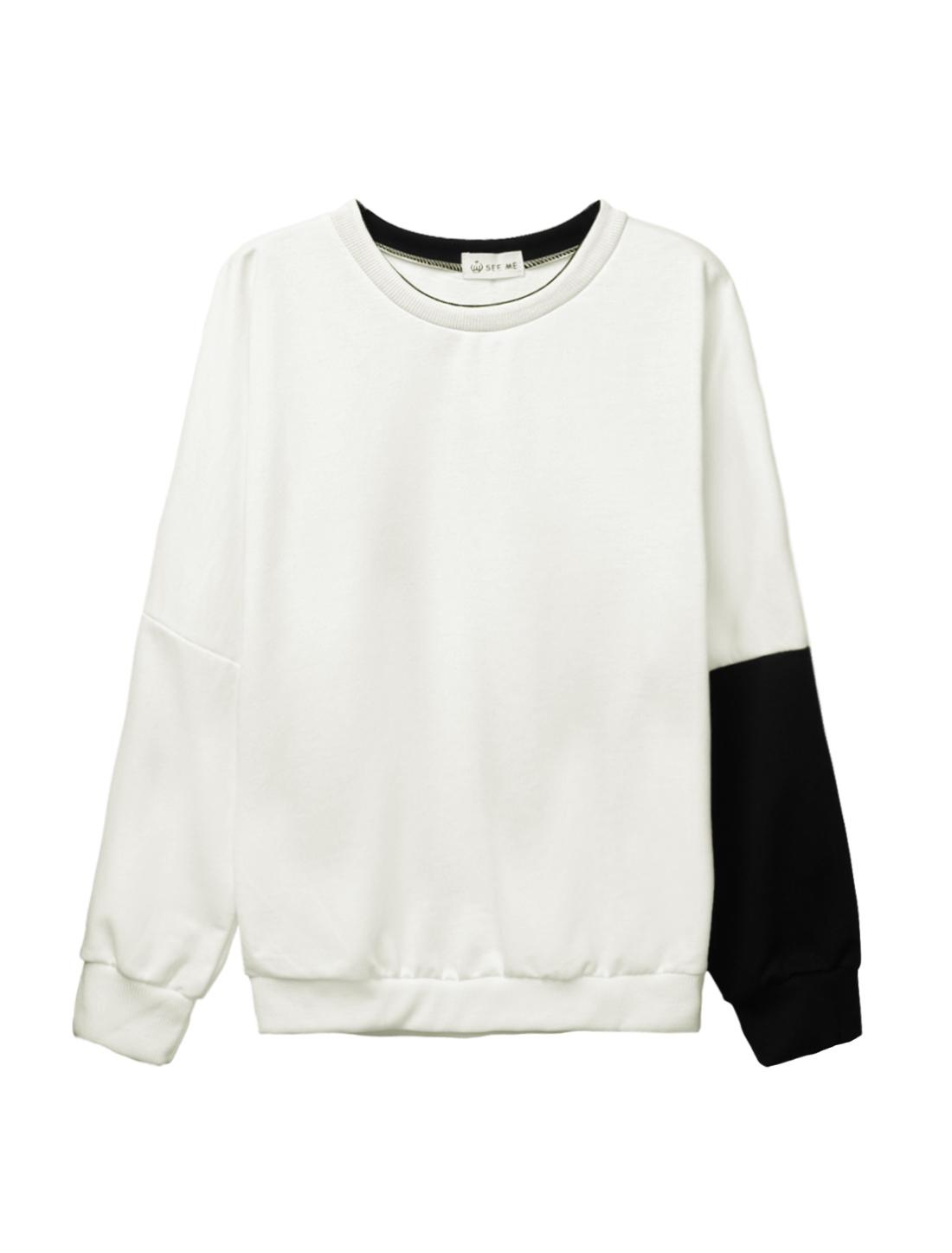 Women Crew Neck Dolman Sleeves Color Block Casual Sweatshirt White XS
