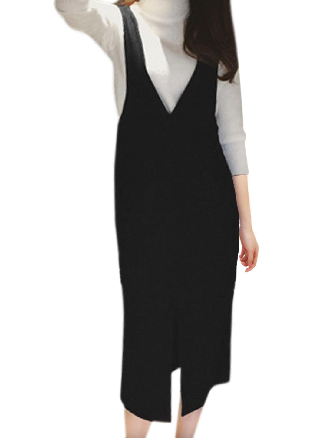 Women Slant Pockets Split Front Worsted Suspender Skirt Black XS