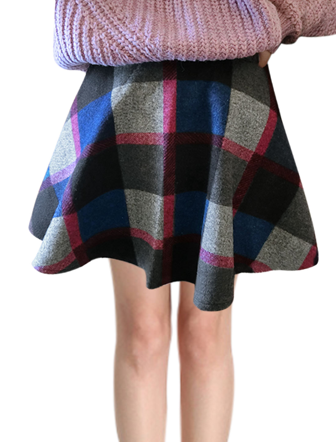 Women High Waist Plaids Contrast Color Worsted A Line Skirt Multicolor M
