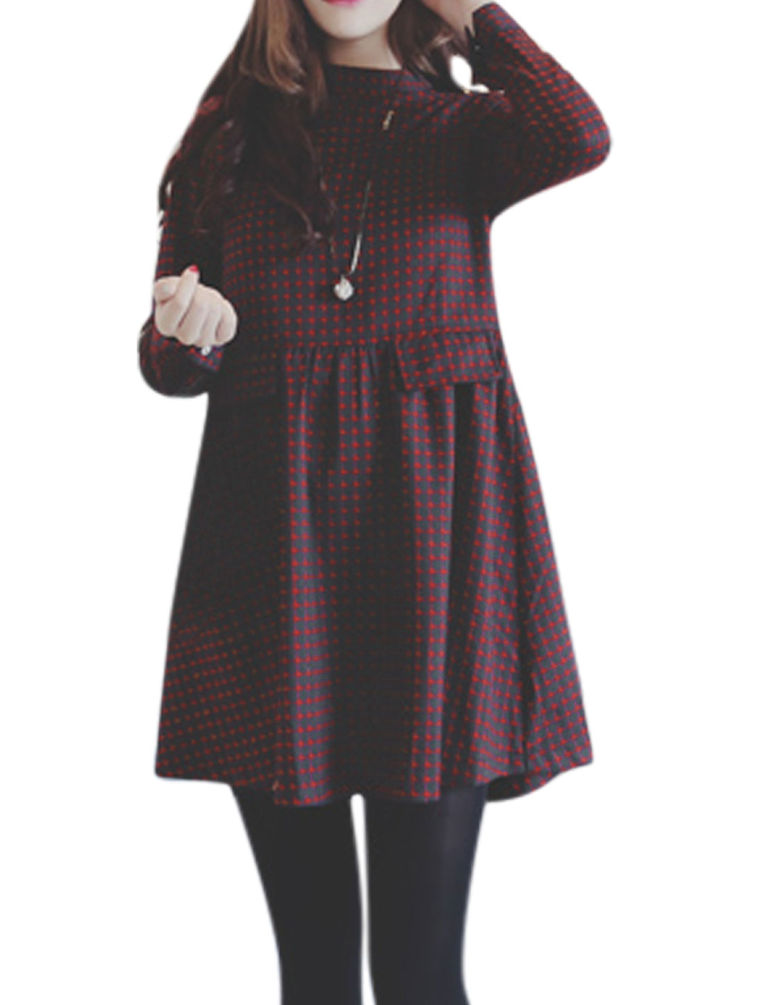Women Mock Neck Long Sleeves Plaids Prints Loose A Line Dress Red Black S