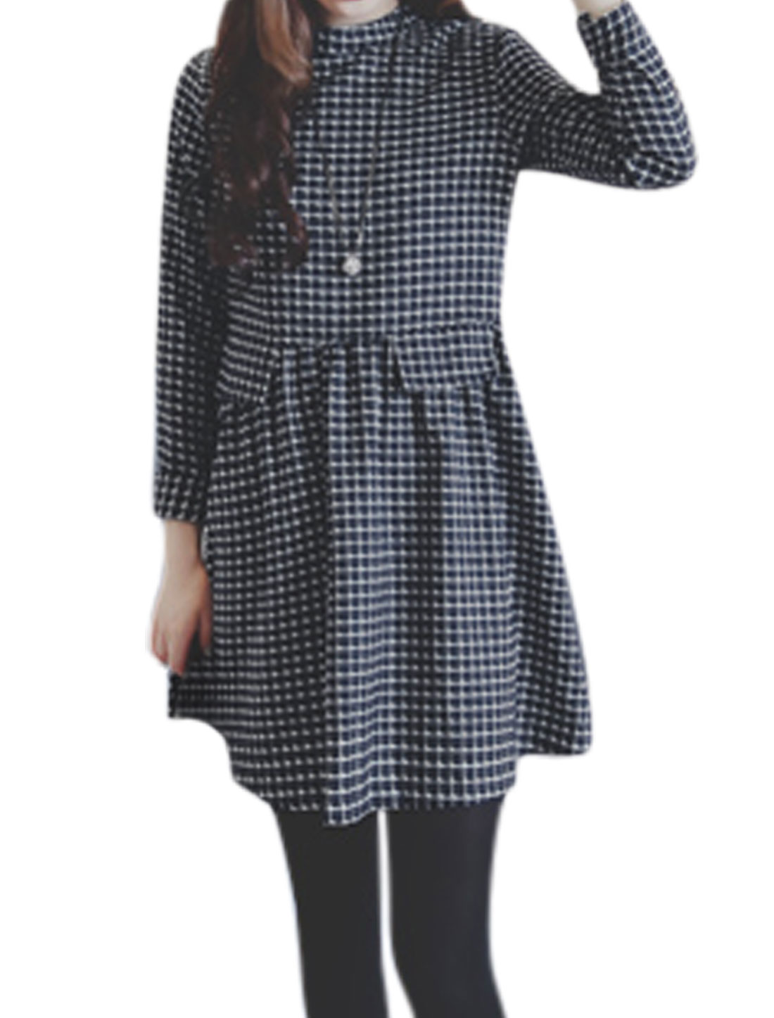 Women Long Sleeves Plaids Pattern Loose High Waist Short Dress White Blue S
