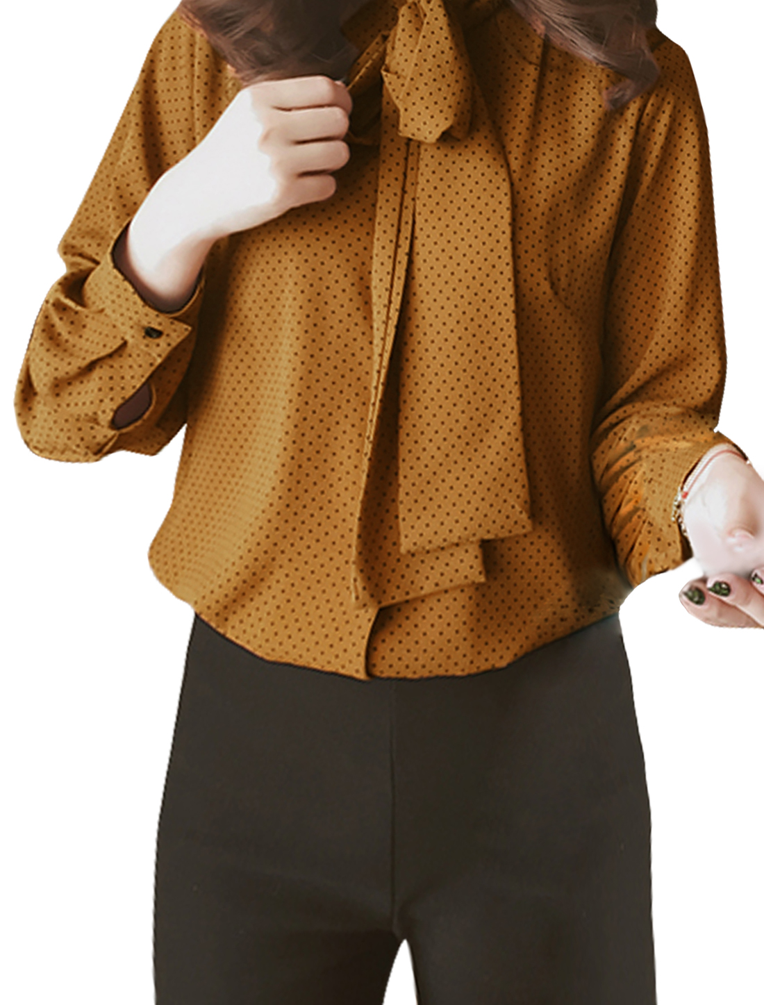 Lady Stand Collar Self Tie Design Long Sleeves Dots Shirts Brown XS