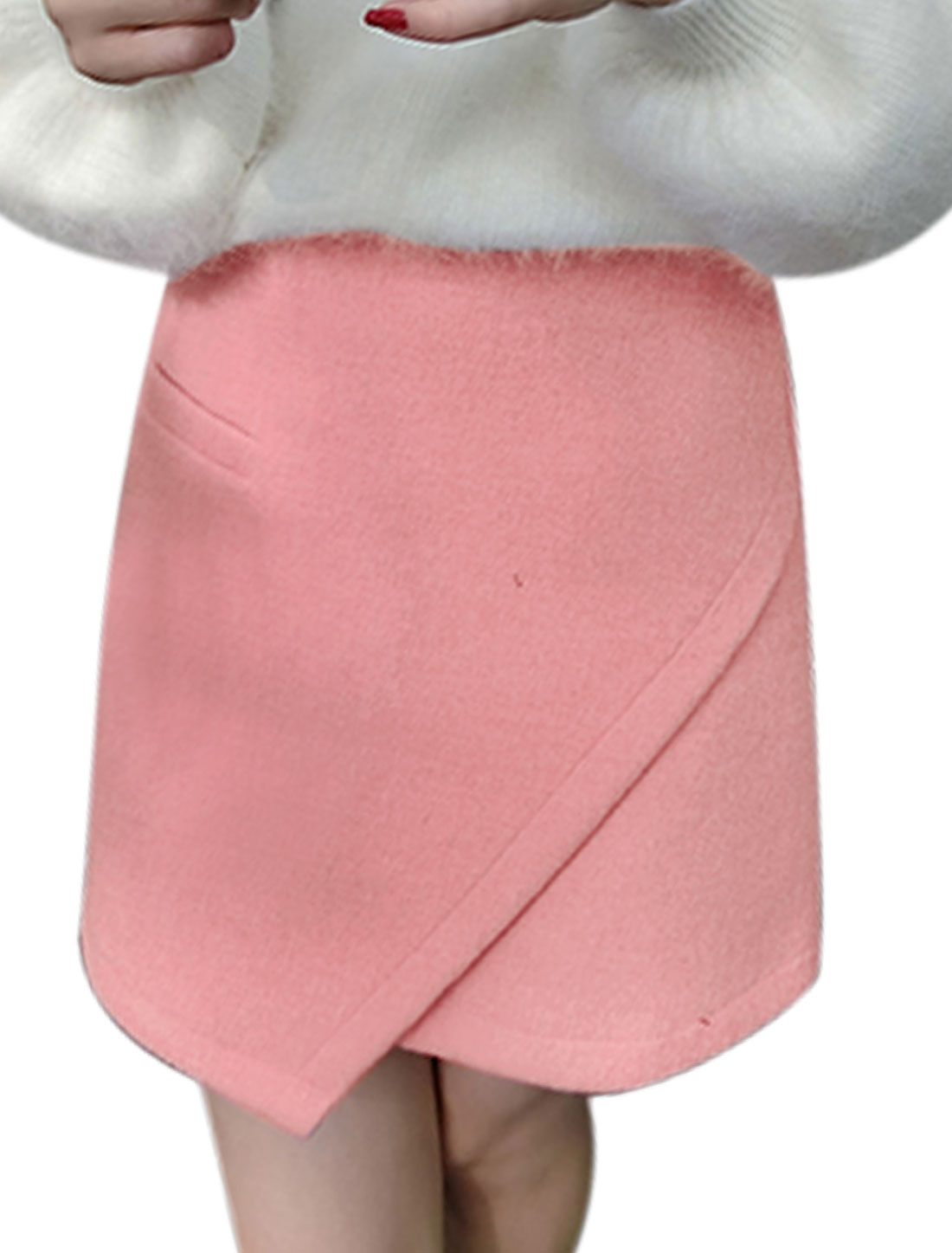Women Mock Pocket Asymmetric Hem Layered Design Worsted Short Skirt Pink M