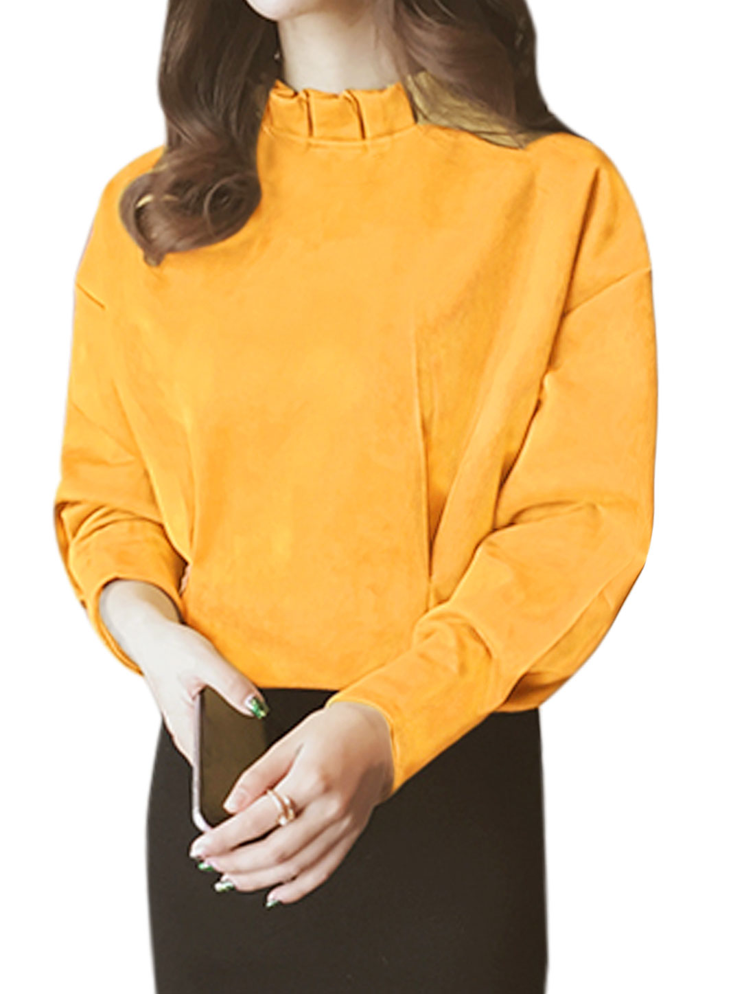 Ladies Ruffled Collar Long-sleeved Drop Shoulder Pullover Tops Yellow XS