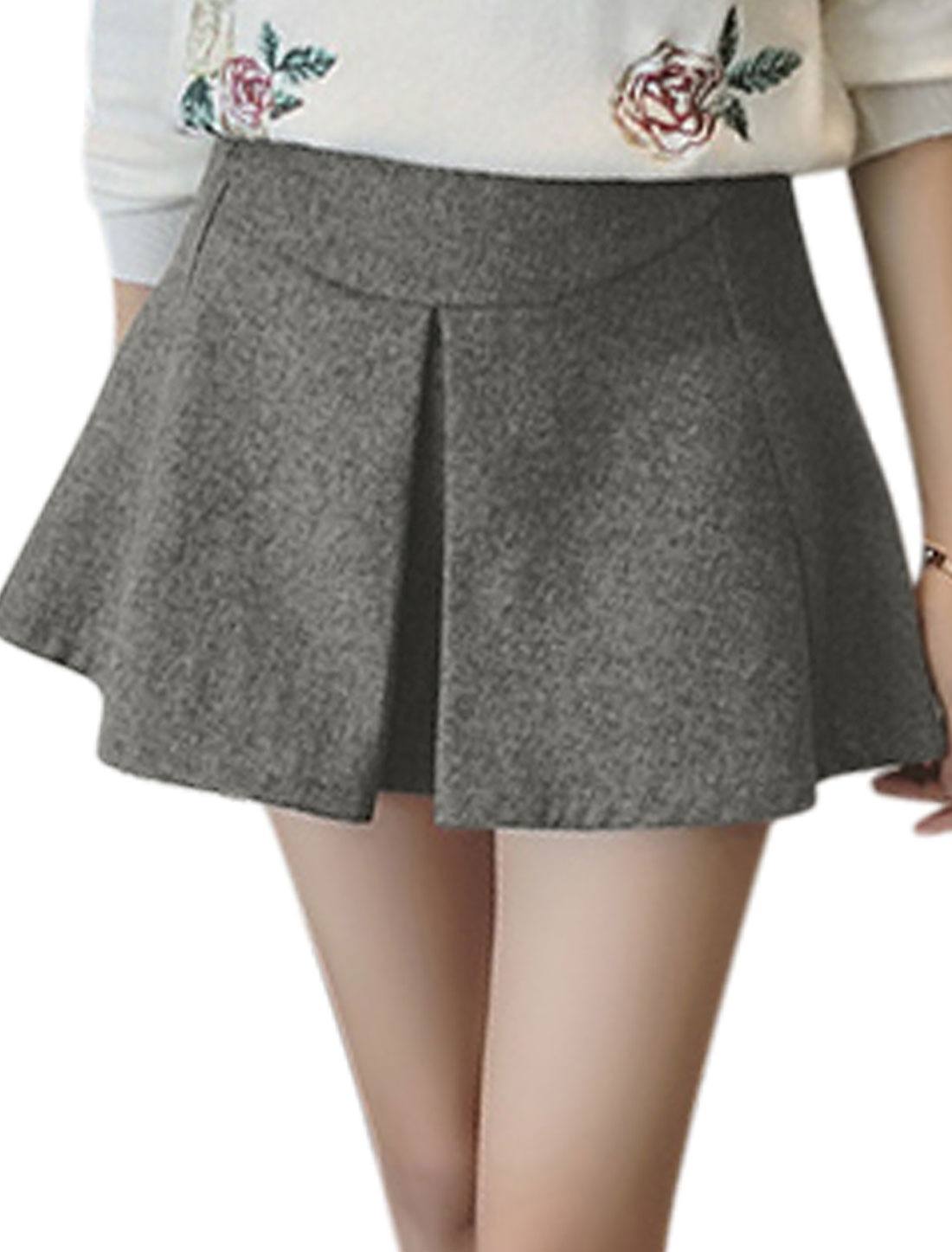 Women Mid Rise Pleated Detail Worsted Mini A Line Skirt Gray M