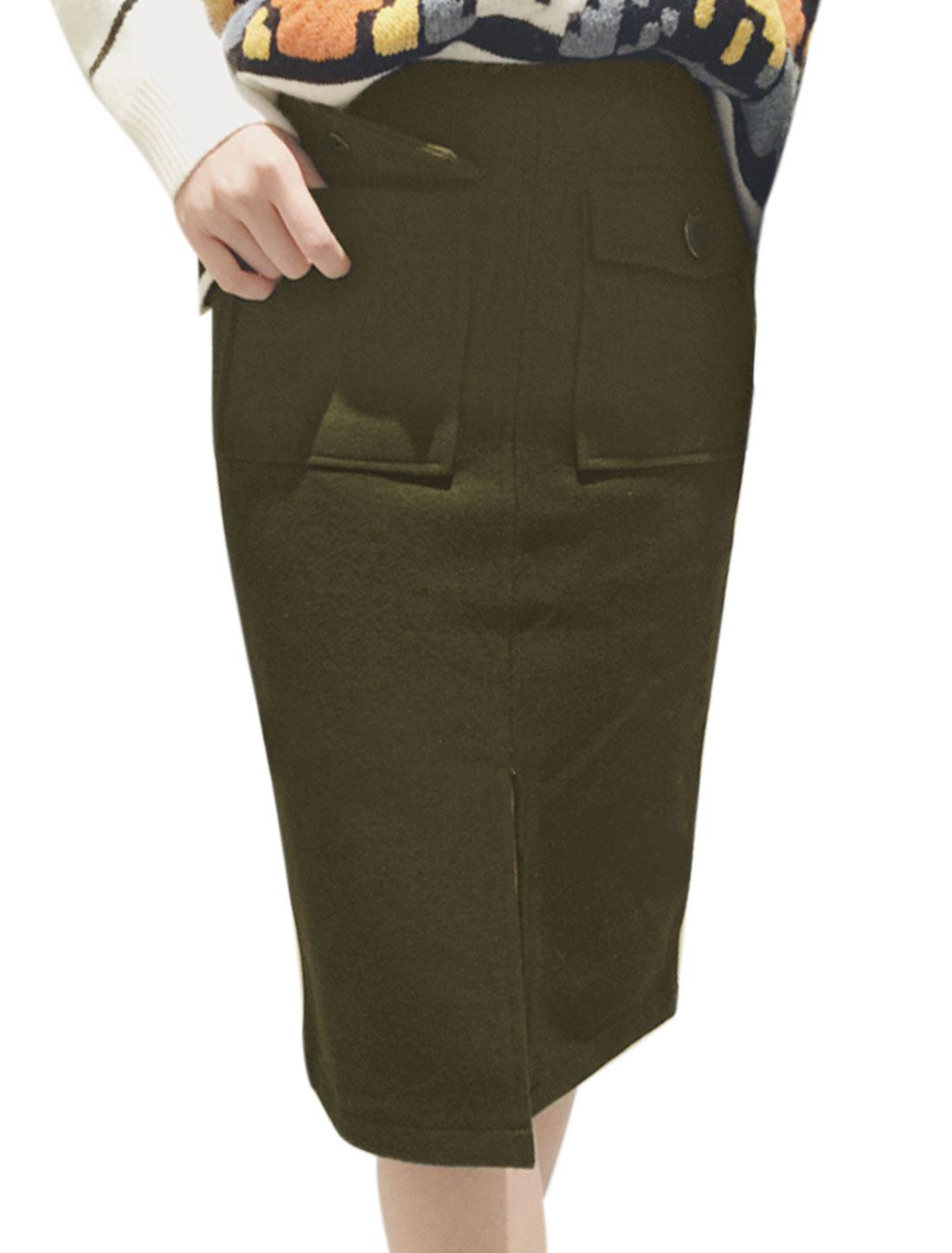 Women High Waist Split Front Unlined Worsted Pencil Skirt Green M