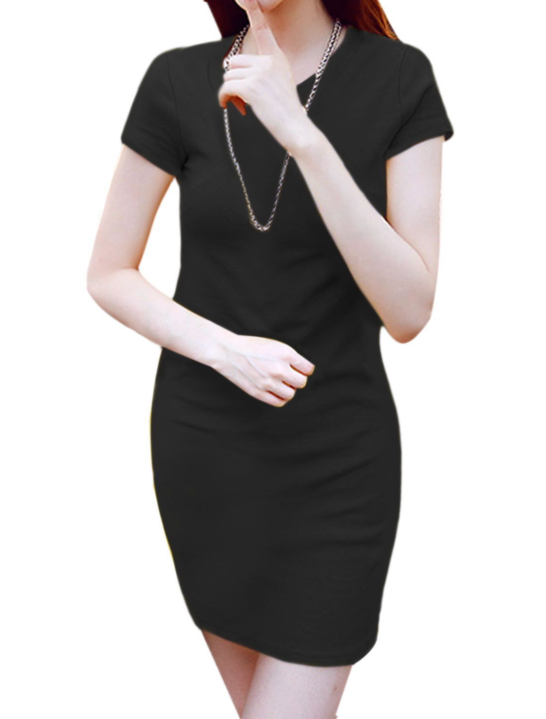 Women Round Neck Short Sleeves Above Knee Casual Sheath Dress Black XS