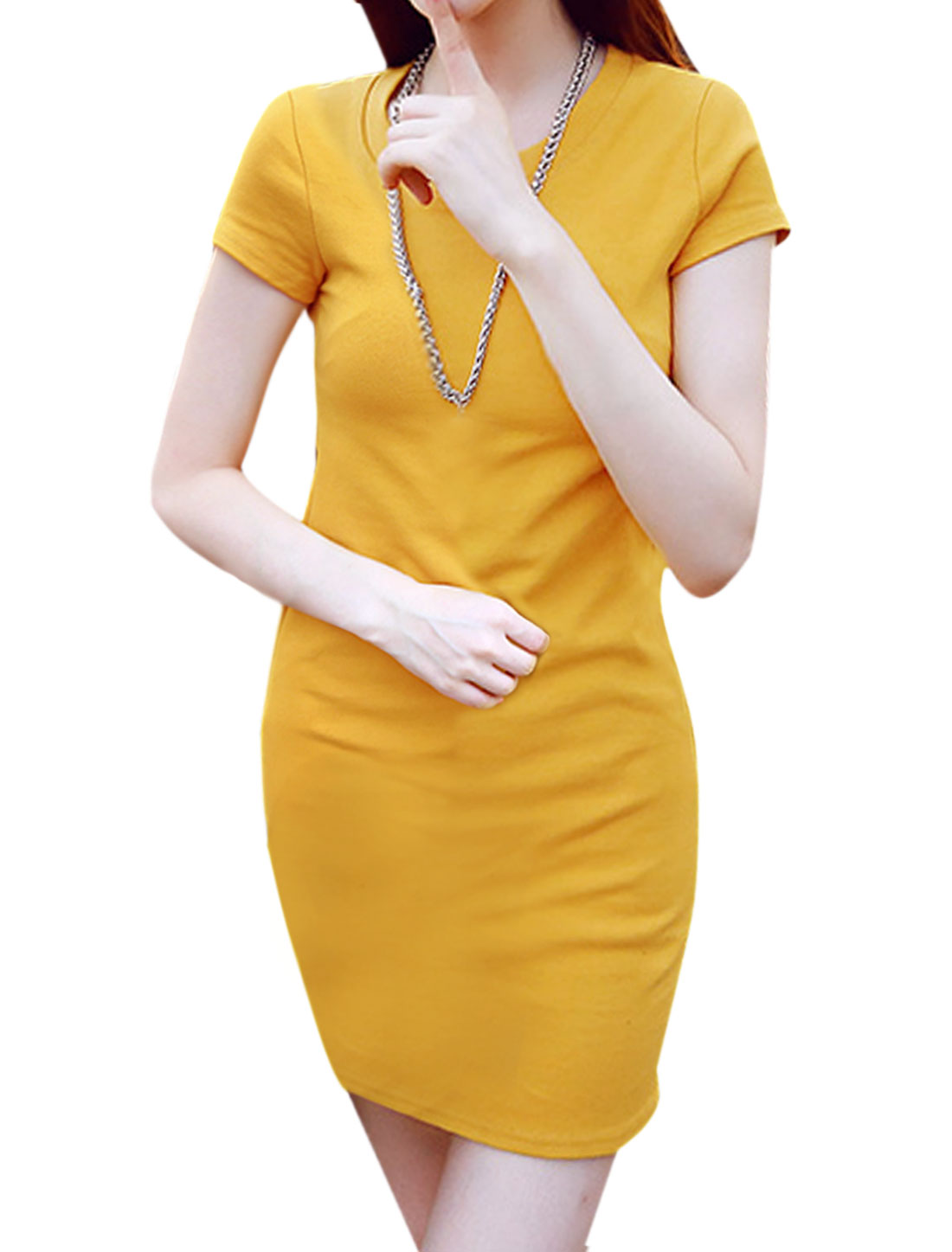 Ladies Round Neck Short Sleeves Slim Fit Pullover Tee Shirt Dress Yellow XS