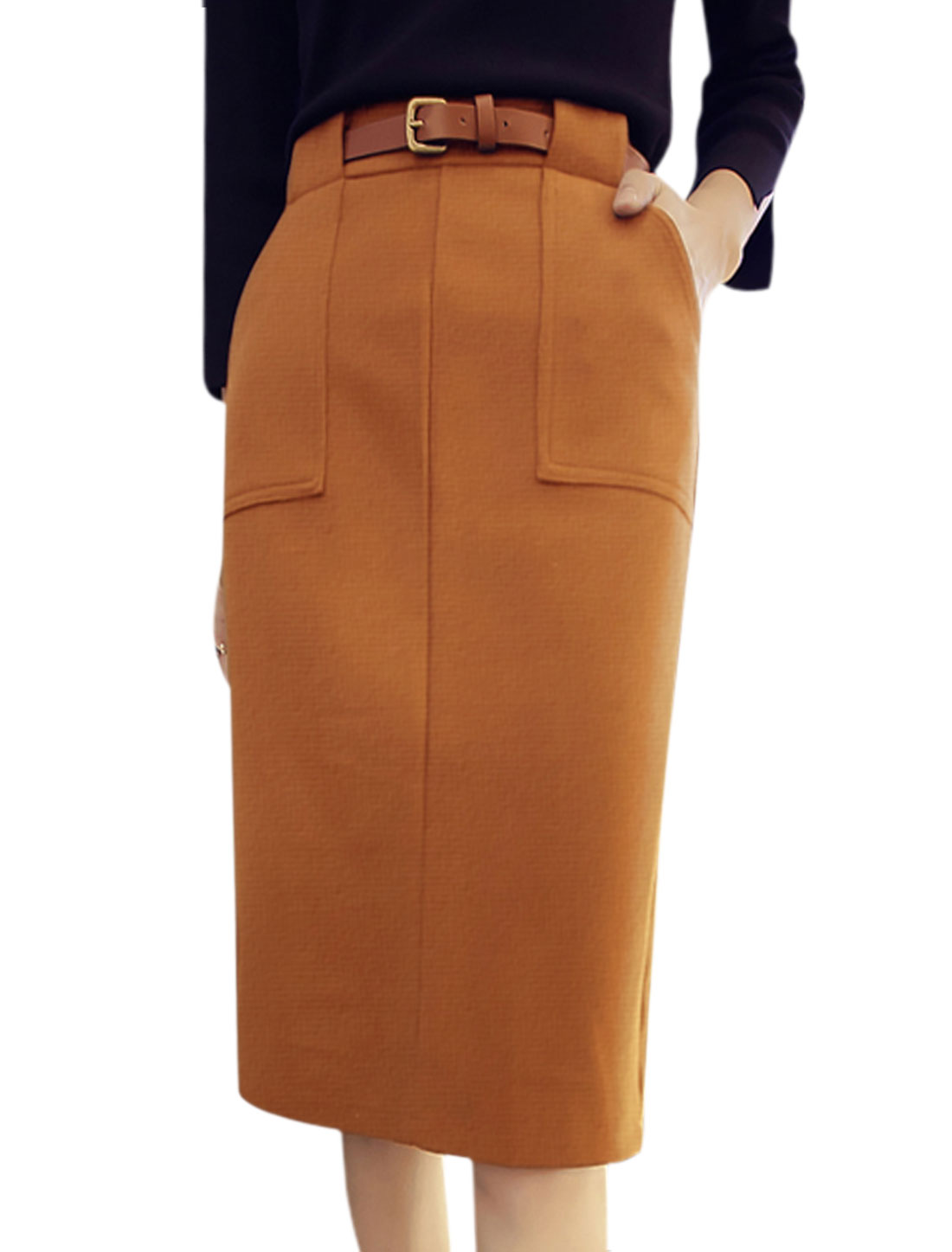 Ladies High Rise Slant Pockets Worsted Midi Skirt w Belt Brown M