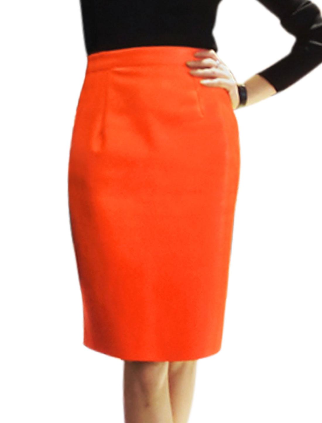 Ladies High Waist PU Slim Fit Zip Closure Unlined Midi Length Skirt Orange S