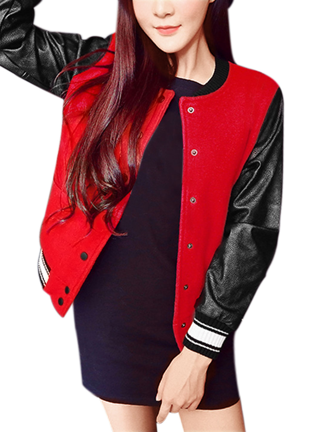 Lady Stand Collar PU Panel Snap Button Fastener Worsted Jacket Red XS