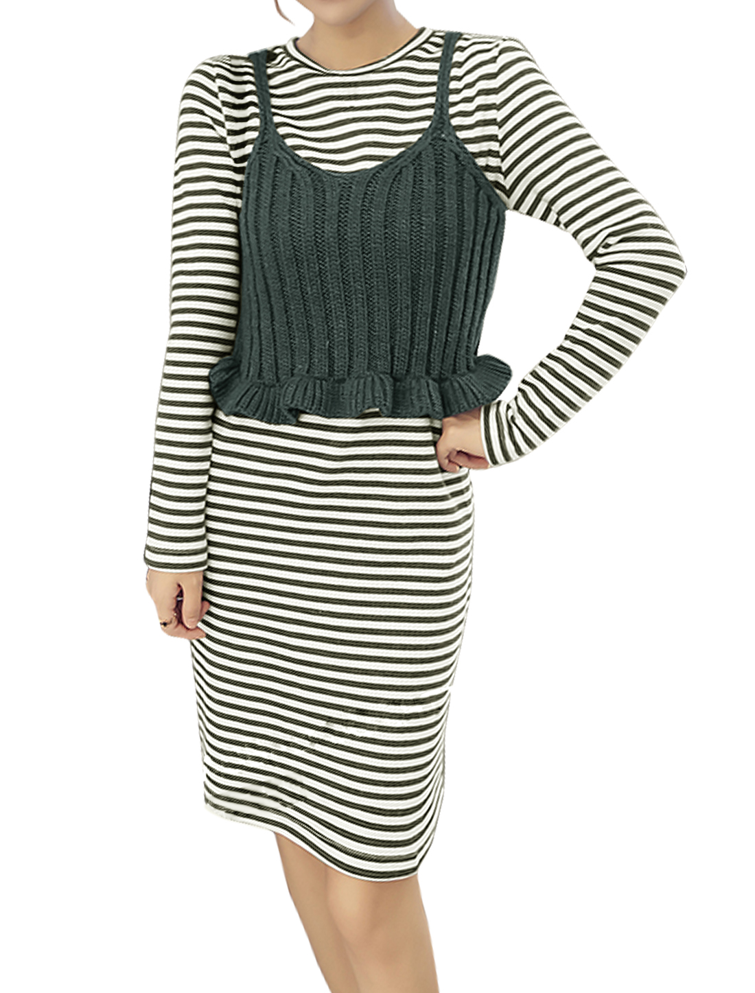 Women Flouncing Hem Crop Sweater Vest w Stripes Dress Sets Black Green XS