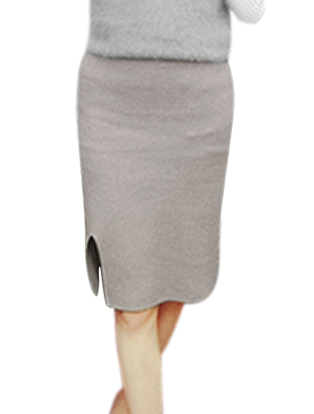 Women Elastic Waist Side Split Slim Fit Casual Knitted Pencil Skirt Gray XS