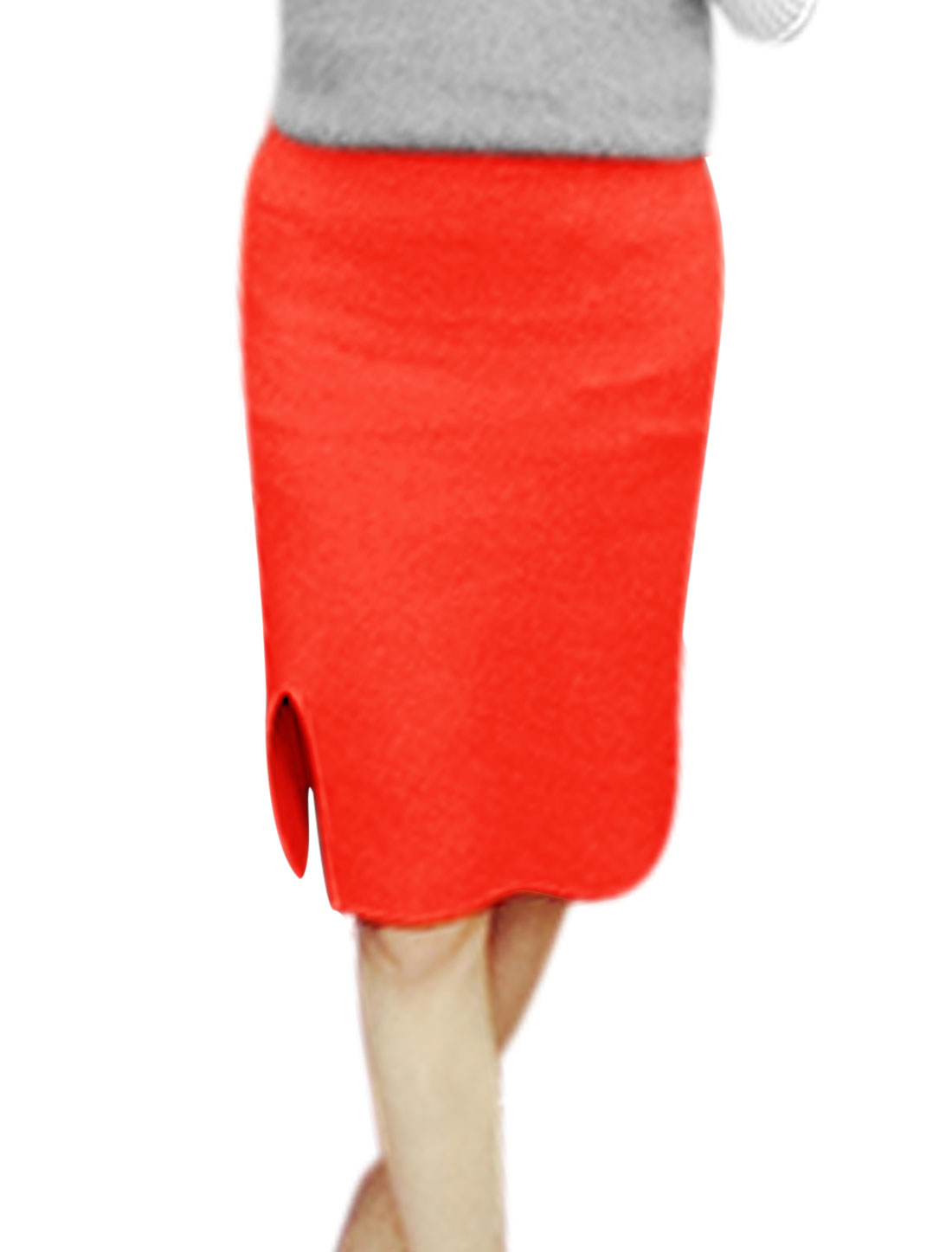 Women High Waist Side Split Slim Fit Knit Knee Length Skirt Red XS