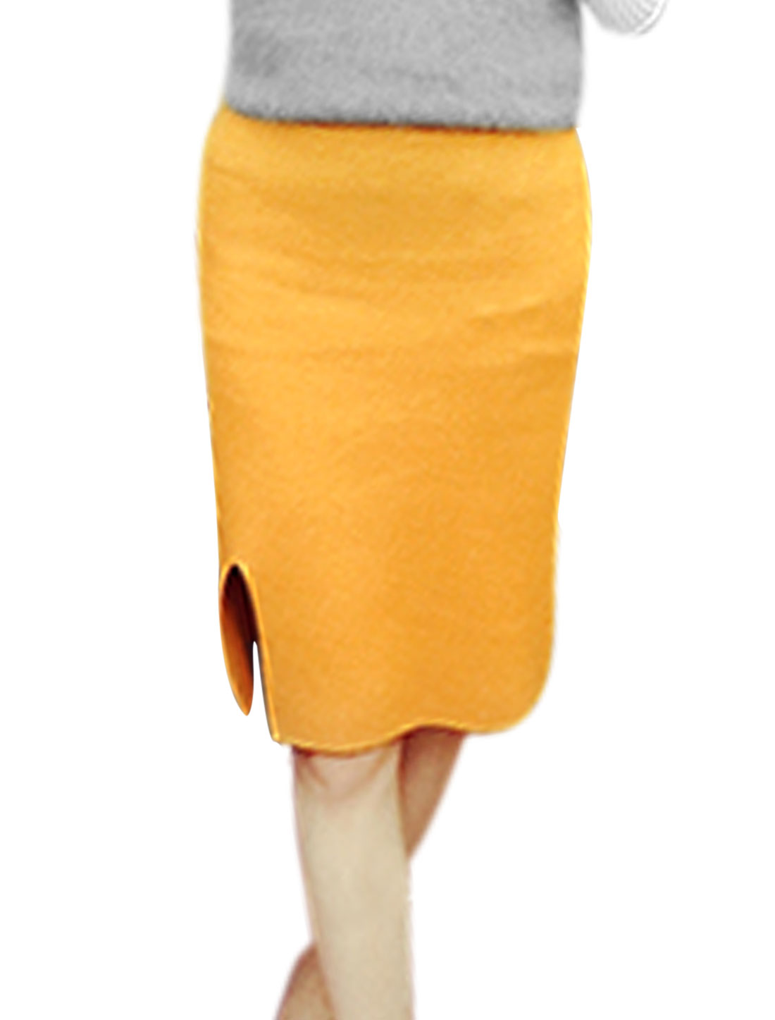 Ladies Strecth Waist Side Split Slim Fit Casual Knit Midi Skirt Yellow XS