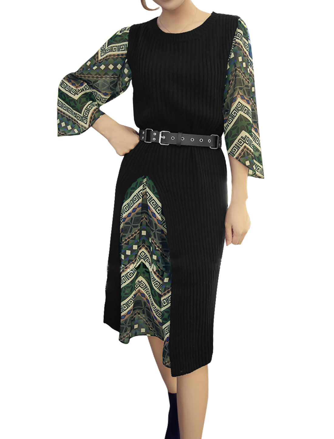 Women Split Front Knit Shirt w Geometric Prints Dress Sets Black Multicolor XS