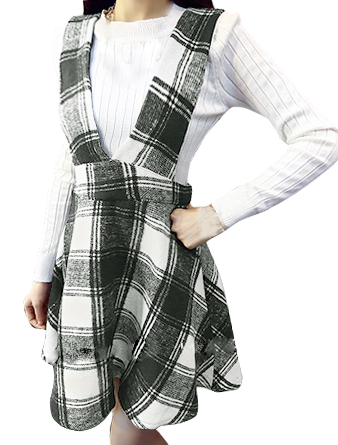 Women Sleeveless Plaids Pattern Above Knee Worsted Suspender Skirt White S