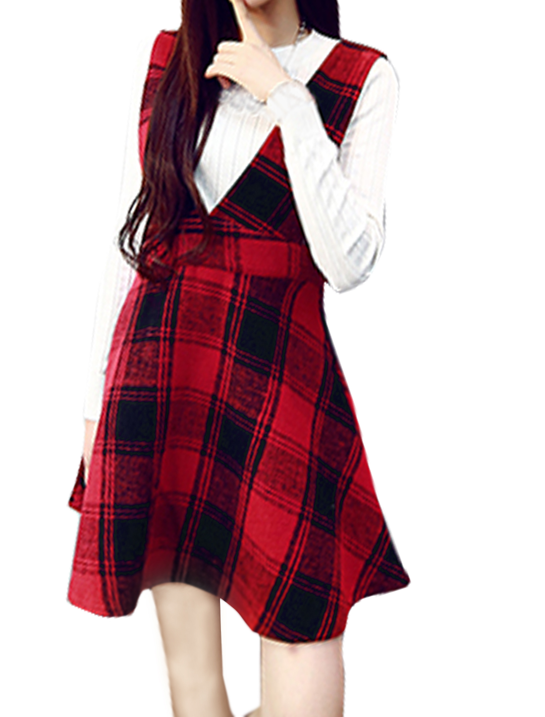 Ladies Sleeveless Plaids Prints Casual Worsted Suspender Skirt Red S
