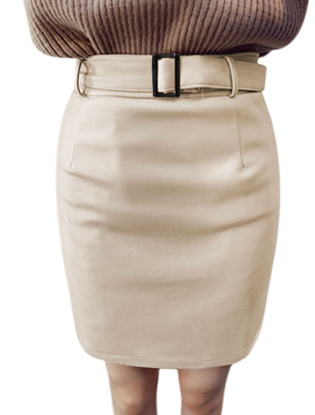 Women High Waist Above Knee Casual Slim Fit PU Straight Skirt w Belt Beige S
