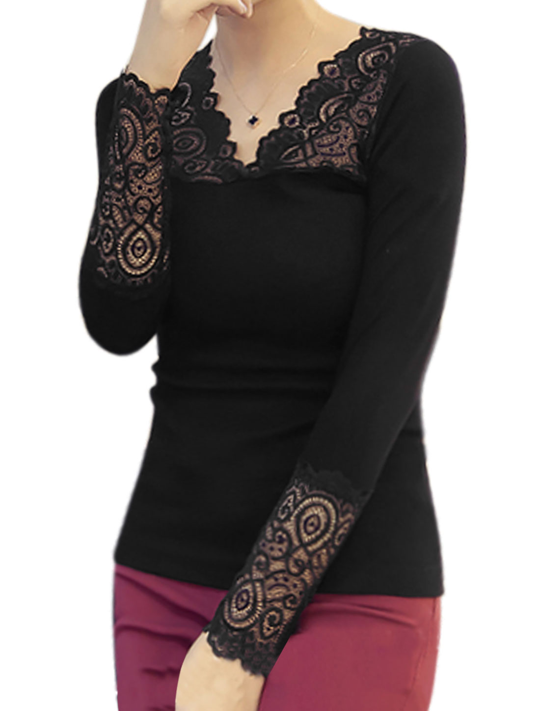 Women Scalloped Neck Long Sleeves Ribbed Lace Panel Slim Fit Tee Shirt Black XS