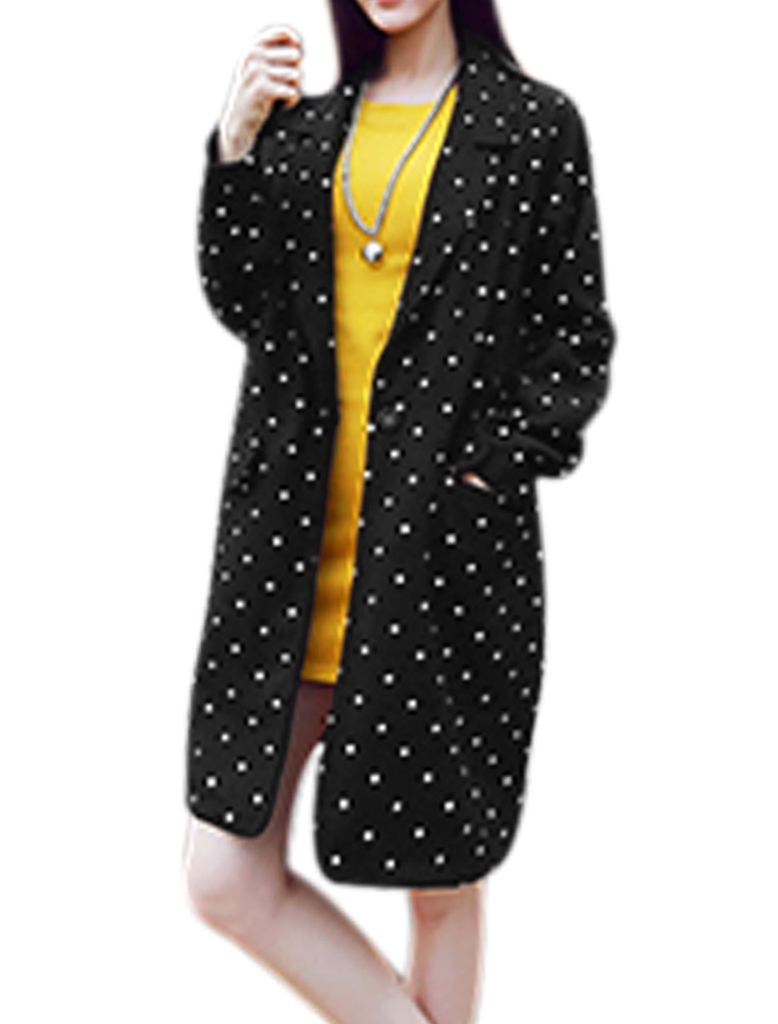 Women Notched Lapel Raglan Sleeves Dots Print One Button Worsted Coat Black S