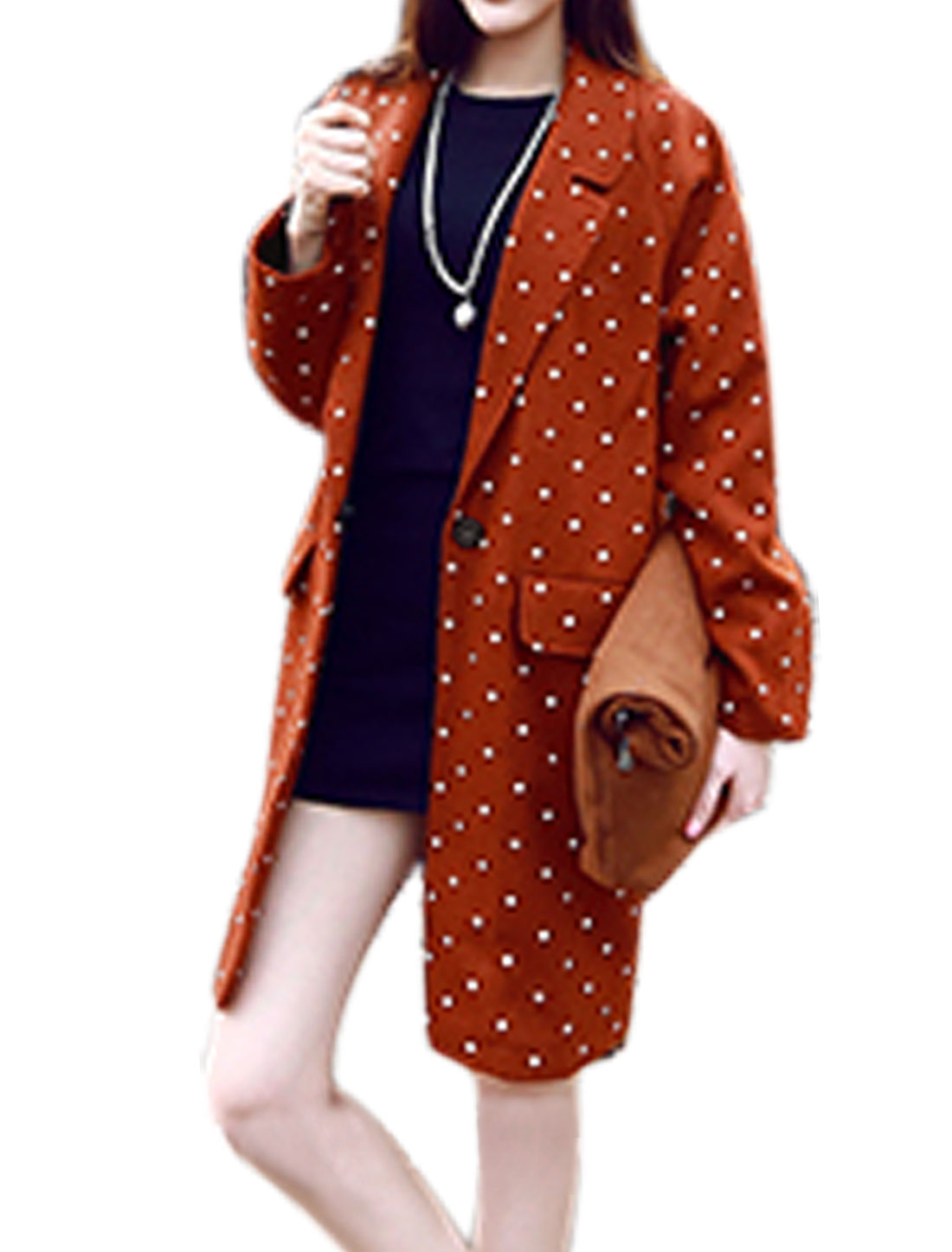 Women Notched Lapel Dots Pattern Single Button Front Worsted Jacket Brown S