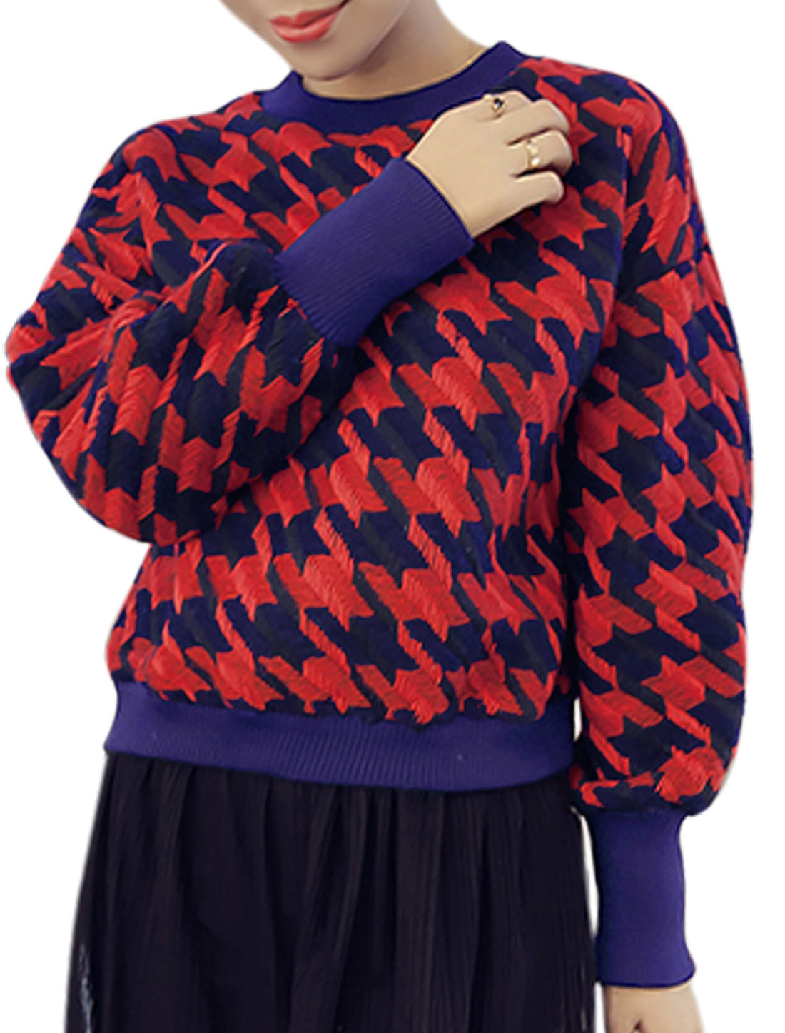 Lady Crew Neck Long Sleeves Houndstooth Pattern Casual Sweater Red XS