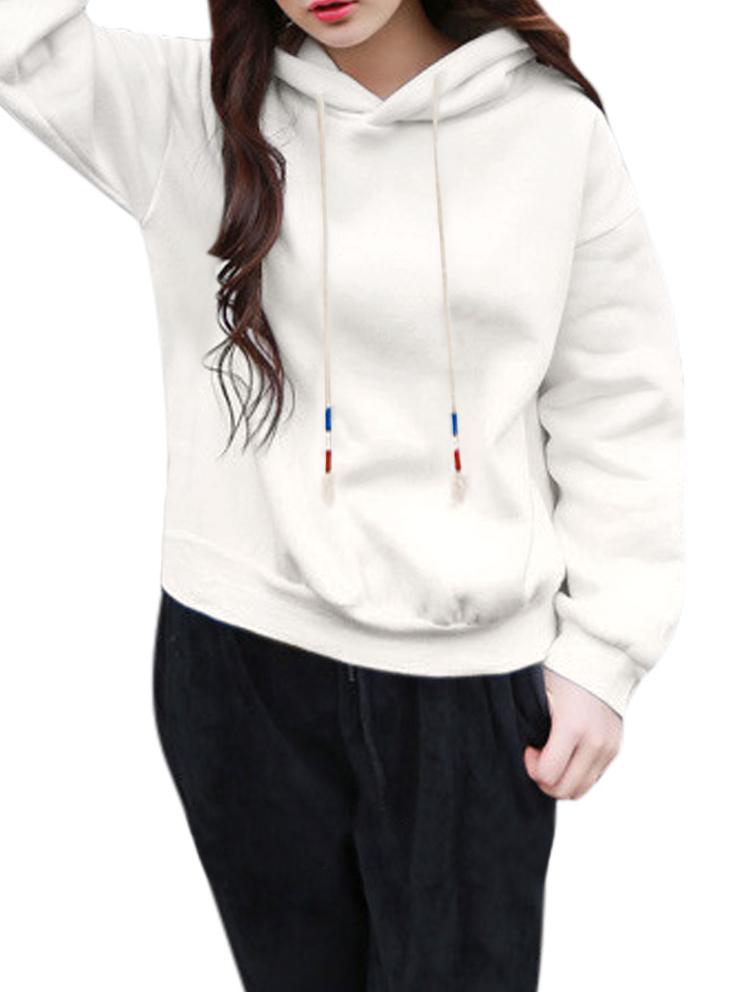 Ladies Drawstring Hood Long Batwing Sleeves Soft Lining Sweatshirt White XS