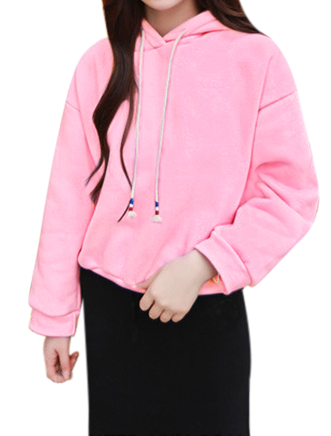 Lady Long Dolman Sleeves Soft Lining Casual Hooded Tee Shirt Pink XS