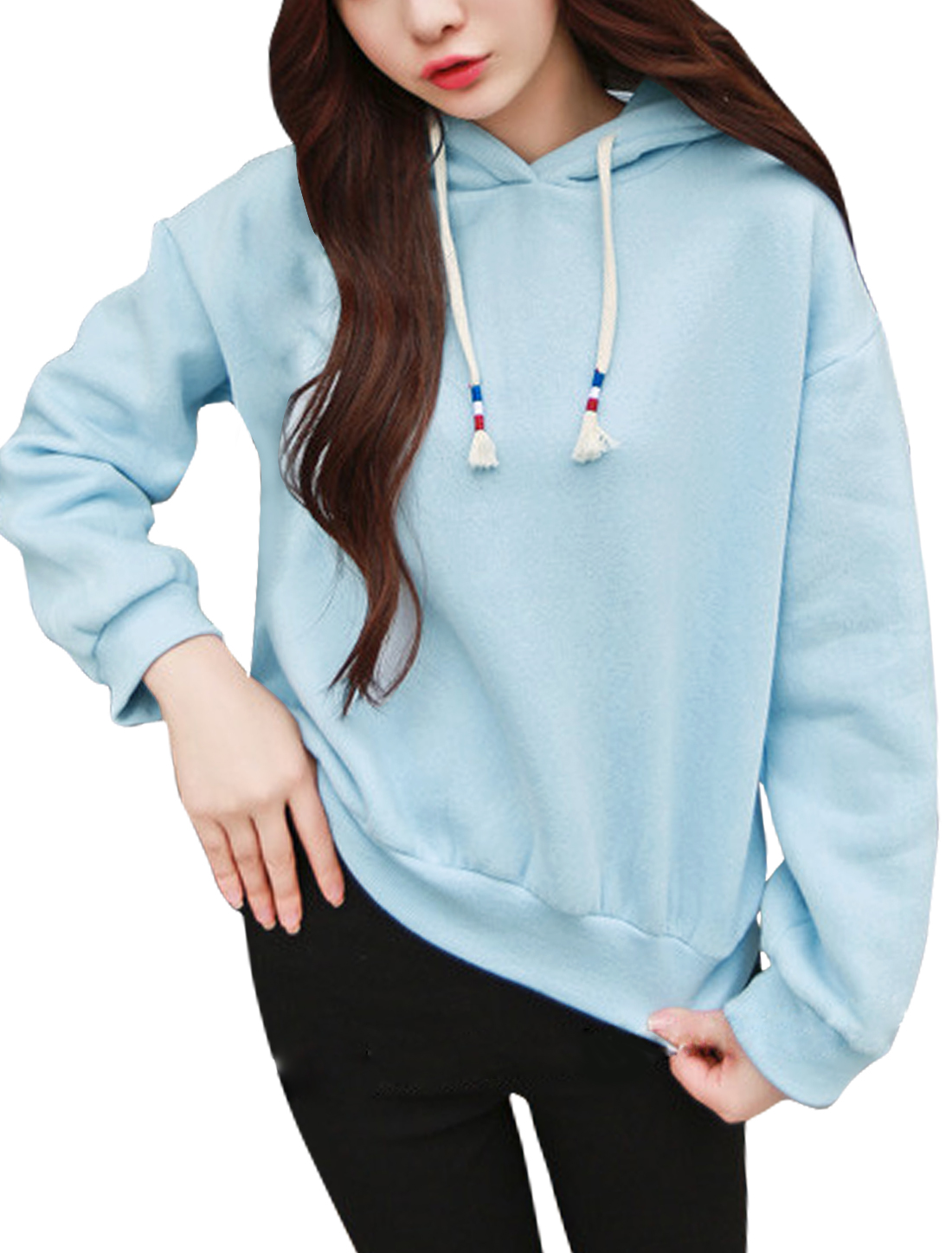 Women Long Batwing Sleeves Soft Lining Pullover Leisure Hoodies Blue XS