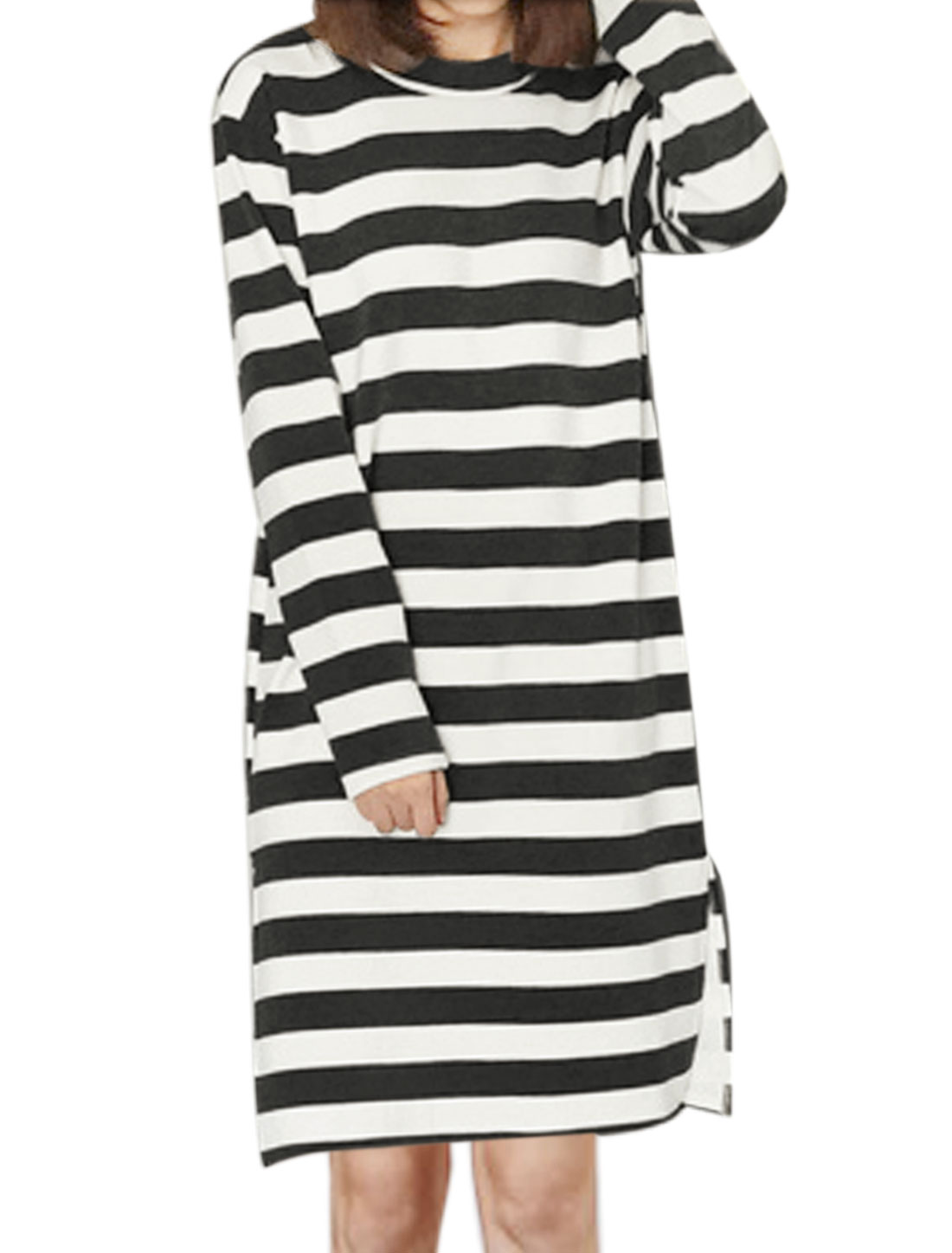 Women Round Neck Stripes Split Sides Soft Lining Tunic Top Black XS
