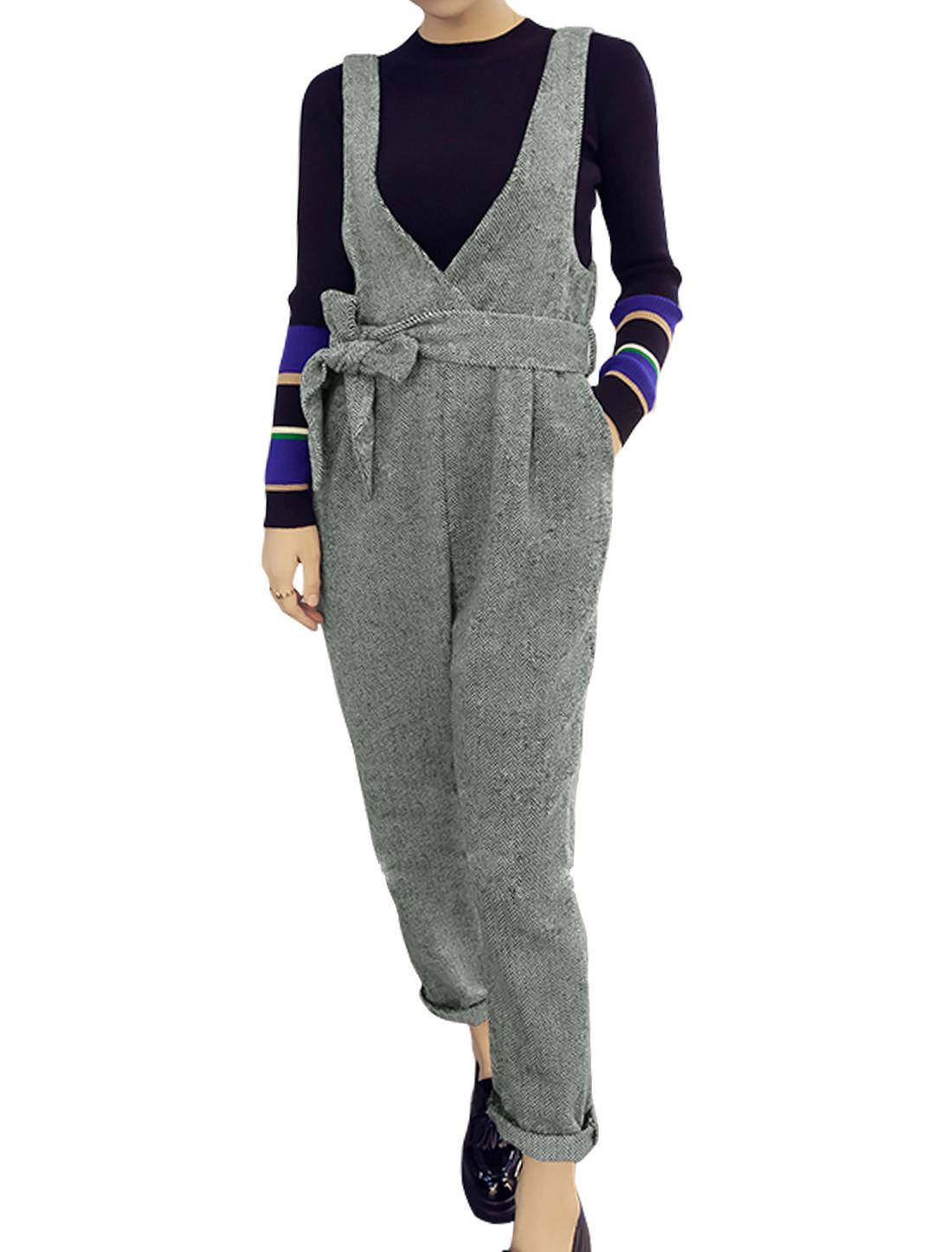 Women Deep V Neck Sleeveless Zig Zag Pattern Belted Jumpsuit Gray S