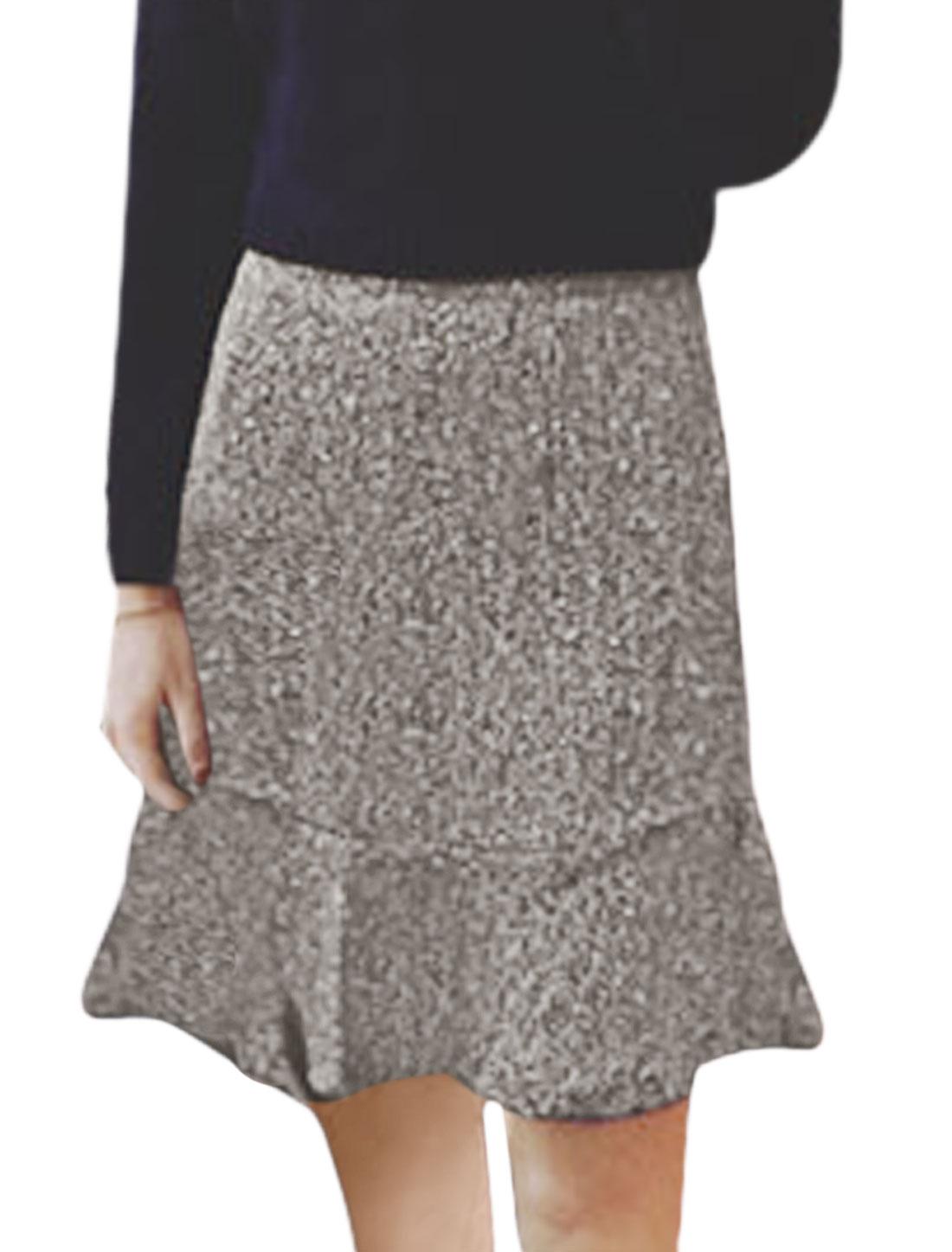 Women High Waist Flouncing Hem Casual Worsted Above Knee A Line Skirt Gray S
