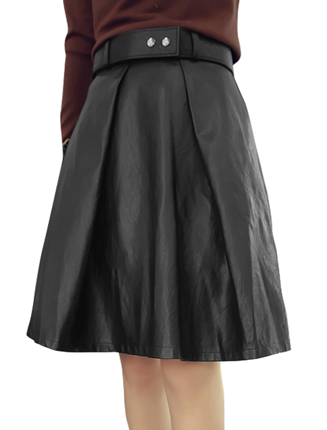 Women High Waist Unlined Casual PU A Line Skirt w Belt Black M
