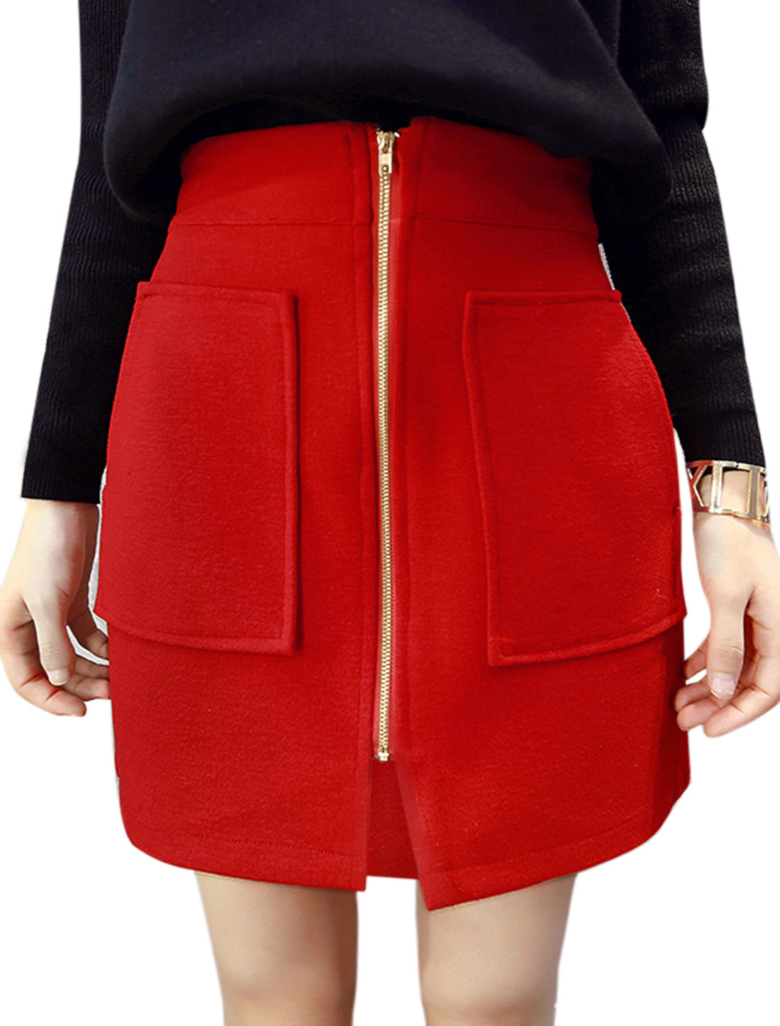 Lady Zip Closure Split Front Two Pockets Worsted Above Knee Skirt Red S