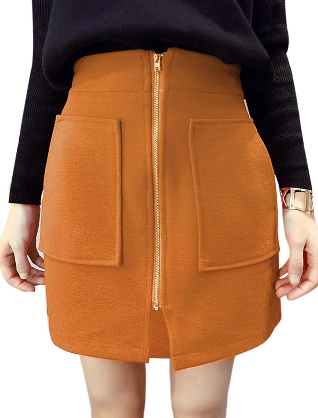 Ladies Exposed Zipper Split Front Slant Pockets Worsted Short Skirt Brown S