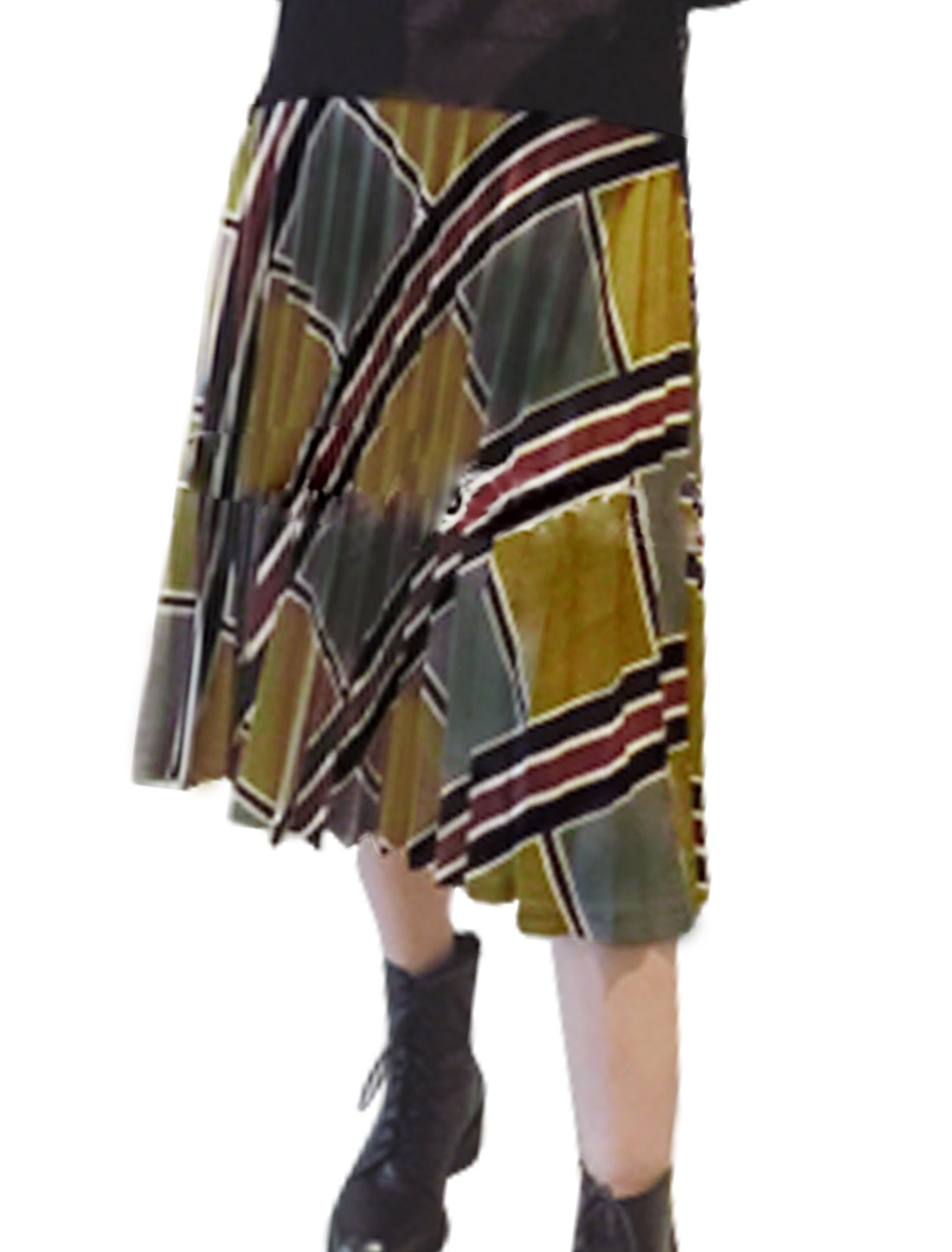 Lady High Waist Geometric Prints Textured Pleated Skirt Multicolor M