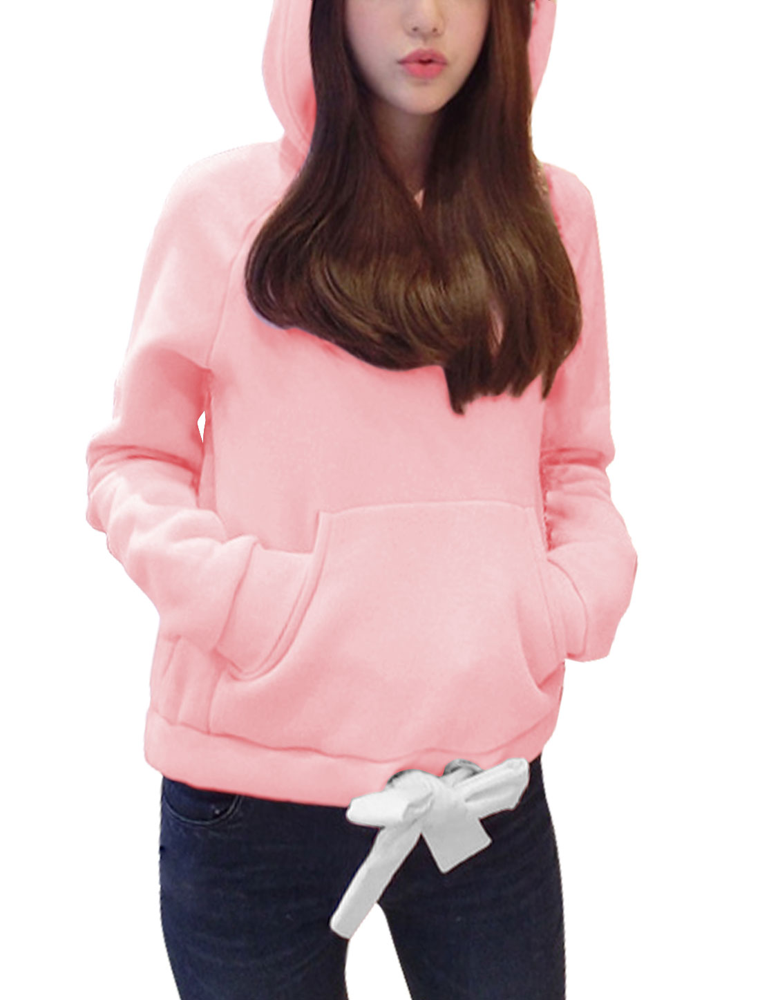 Women Raglan Sleeves Kangaroo Pocket Drawstring Hem Casual Hoodie Pink XS